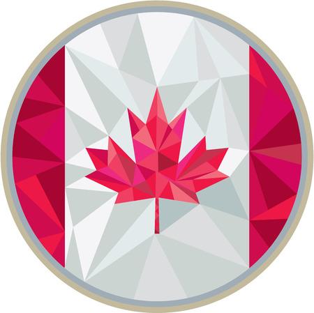 Ilustración de Low polygon style illustration of canada flag maple leaf set inside circle on isolated background. - Imagen libre de derechos