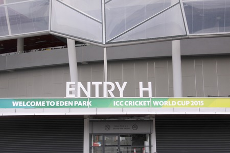 AUCKLAND-Mar.4: Entrance of the venue of the ICC Cricket World Cup 2015 jointly hosted by Australia and New Zealand from 14 February to 29 March 2015 where Cricket teams will play ODI matches at the Eden Park Rugby Stadium in Auckland, New Zealand on Wedn