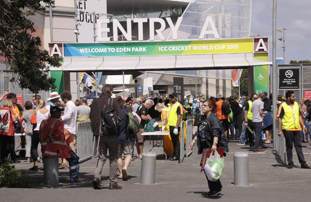 AUCKLAND-Mar.7: Cricket fans descend to the venue of the ICC Cricket World Cup 2015 jointly hosted by Australia and New Zealand  at the Eden Park Rugby Stadium to watch the Group A game One Day International ODI match between South Africa and Pakistan in