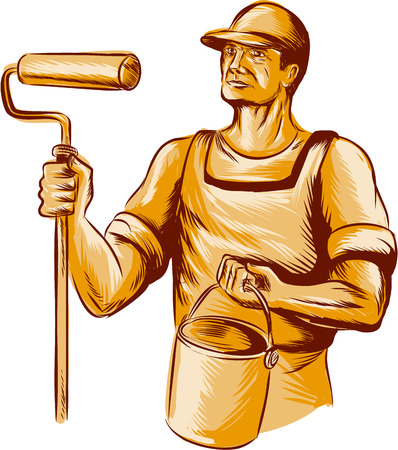 Illustration for Etching engraving handmade style illustration of a house painter holding paint roller  and paint bucket can looking to the side viewed from front set on isolated white background. - Royalty Free Image