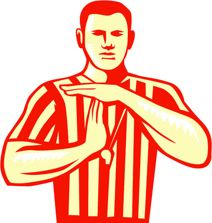 Illustration of a basketball referee doing a technical foul hand signal viewed from front set on isolated white background done in retro style.
