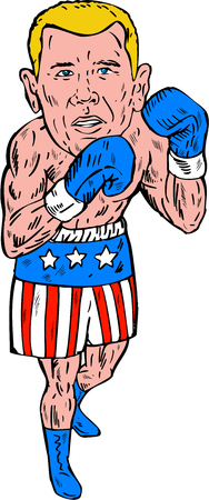 Etching engraving handmade style illustration of a boxer fighter pose posing wearing shorts with usa american stars and stripes viewed from front set on isolated white background done.