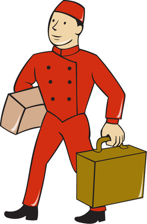 Illustration of a bellboy, bellhop or porter carrying suitcase, bag and luggage set on isolated white background done in cartoon style.
