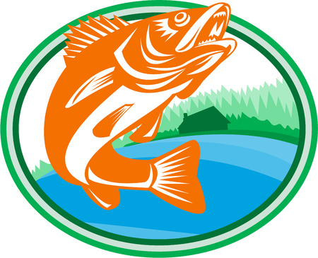 Illustration pour Illustration of a Walleye (Sander vitreus, formerly Stizostedion vitreum), a freshwater perciform fish  with lake and cabin in the woods in the background set inside oval shape done in retro style. - image libre de droit