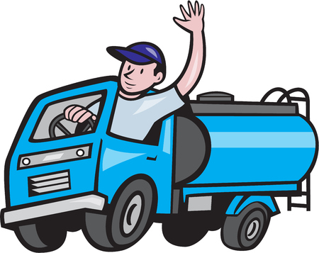 Ilustración de Illustration of a 4 wheeler baby tanker truck petrol tanker with driver waving hello on isolated white background done in cartoon style. - Imagen libre de derechos