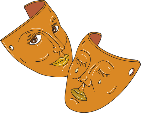 Mono line style illustration showing the two masks associated with drama representing the traditional generic division between comedy and tragedy using ancient Greek Muses, Thalia was Muse of comedy (the laughing face), while Melpomene was the Muse of tra