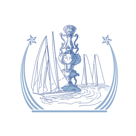 Drawing sketch style illustration of three Yacht Club match racing sailing in background and meteor comet star with tail on isolated background.