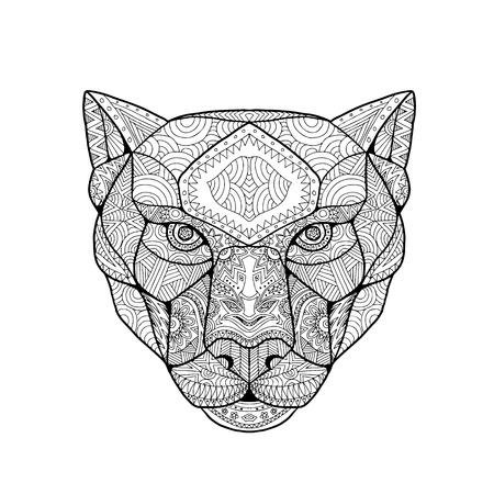Ilustración de Inspired and tangled mandala, illustration of head of a black panther, viewed from front on white background. - Imagen libre de derechos