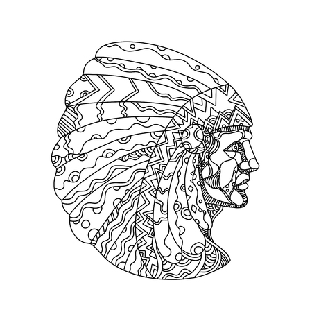 Doodle art illustration of a Native American, American Indian, Indian or Indigenous American, the indigenous people of United States, wearing war bonnet or headdress in black and white mandala style.