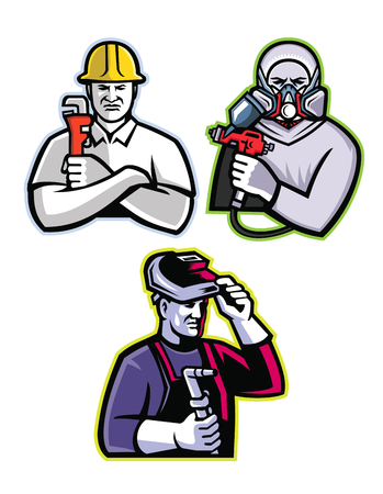 Illustration for Mascot icon illustration set of tradesman like the pipefitter or plumber, automotive or industrial spray painter and welder or fabricator viewed from front on isolated background in retro style. - Royalty Free Image