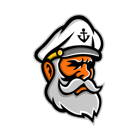 Illustration pour Mascot icon illustration of head of a seadog or sea dog, an old or experienced sea captain, sailor or fisherman viewed from side on isolated background in retro style. - image libre de droit