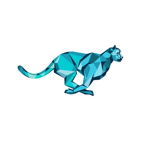 Illustration pour Low polygon style illustration of a cheetah in the hunt at full speed running viewed from side on isolated background. - image libre de droit