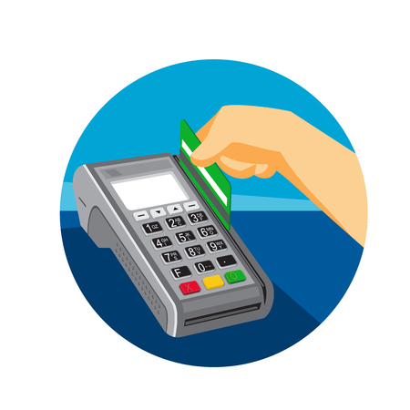 Illustration pour Retro style illustration of a hand swiping a credit card on point of sale POS terminal set inside circle on isolated background. - image libre de droit