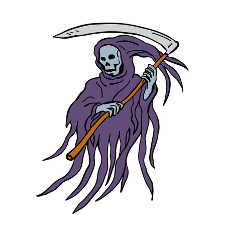 Illustration pour Drawing sketch style illustration of the evil grim reaper or death with scythe and torn hood  on isolated white background. - image libre de droit