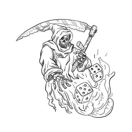 Illustration pour Drawing sketch style illustration of the Grim Reaper with a scythe throwing rolling the dice on isolated white background done in black and white. - image libre de droit