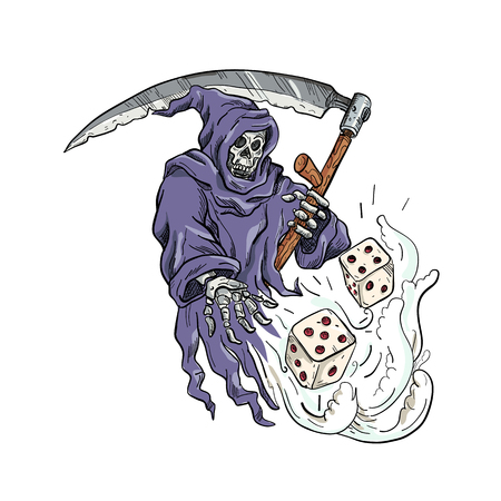 Illustration pour Drawing sketch style illustration of the personification of death, the Grim Reaper holding a scythe throwing and rolling the dice on isolated white background done in color. - image libre de droit