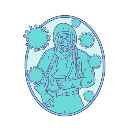 Mono line style illustration of a doctor or medical worker wearing protective or haz chem suit with coronavirus cell floating set inside oval shape on isolated background.