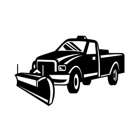 Illustration pour Retro black and white style illustration of a snow removal equipment or snow plow pick-up truck viewed from side on isolated white background. - image libre de droit