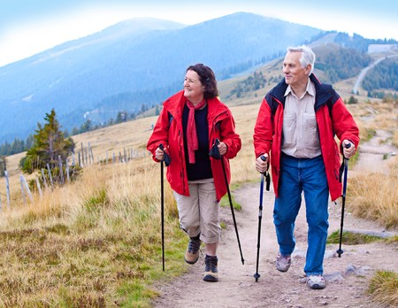 seniorcouple hiking in the nature