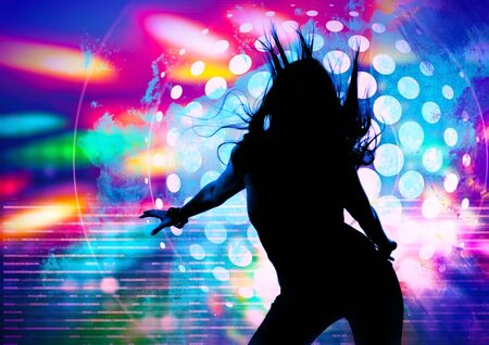 Photo for dancing silhouette of girl in a nightclub - Royalty Free Image