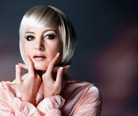 beautiful lady with blond bob and beautiful makeup