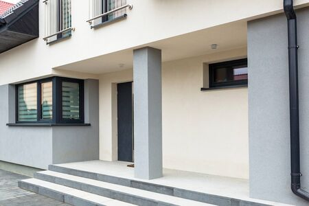 Photo for House with new laid concrete paver blocks and steps - Royalty Free Image