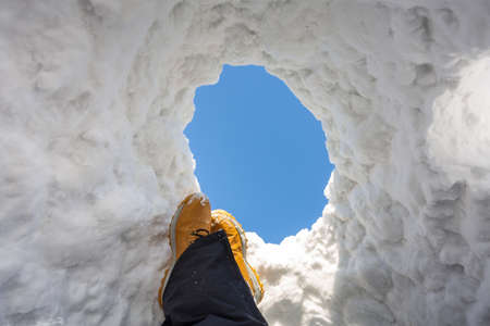 Photo pour Relax in the snow igloo at sunny day. Poland - image libre de droit