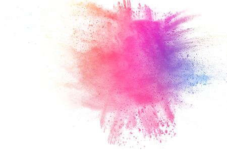 Foto de Colored dust splash cloud on white background. Launched colorful particles on background. - Imagen libre de derechos