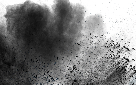 Photo for abstract black dust explosion on white background. - Royalty Free Image