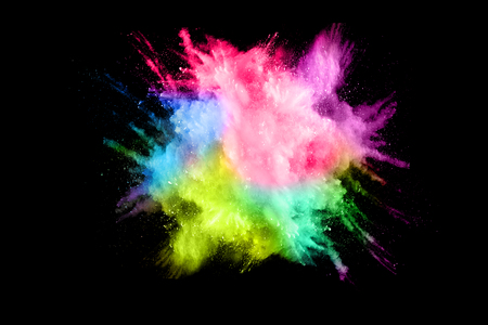 Photo for Multicolored powder explosion isolated on white background. Colored dust splash cloud  on white background. Launched colorful particles on background. - Royalty Free Image