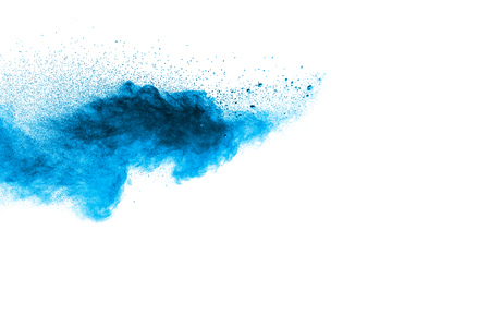 Photo for Abstract blue dust explosion on  white background. Abstract blue powder splattered on white background. Freeze motion of blue powder splash. - Royalty Free Image