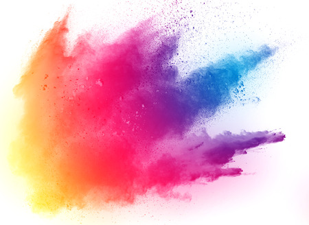 Photo for Multicolored powder explosion on white background. Colored cloud. Colorful dust explode. Paint Holi.abstract multicolored dust splatter on white background - Royalty Free Image