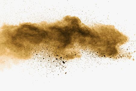 Photo pour Abstract deep brown dust explosion on white background.  Freeze motion of coffee liked color dust splash. - image libre de droit
