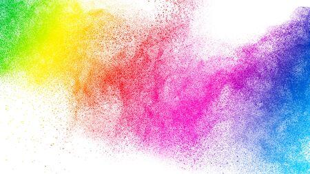 Foto de Colorful powder explosion.Bright pastel color dust particles splash. - Imagen libre de derechos