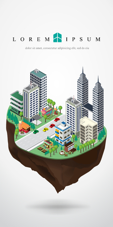 isometric city landscape floating in the sky, floating city , floating urban,sky city,vector illustration.