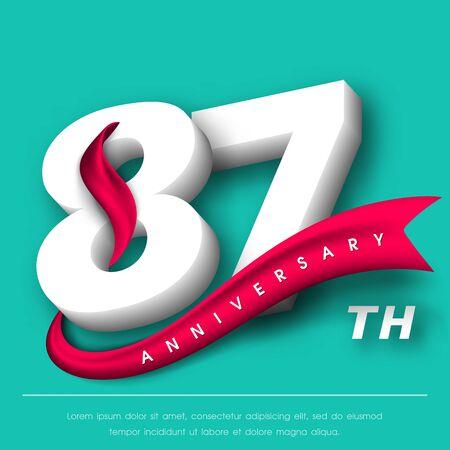 Anniversary emblems 87 anniversary template design