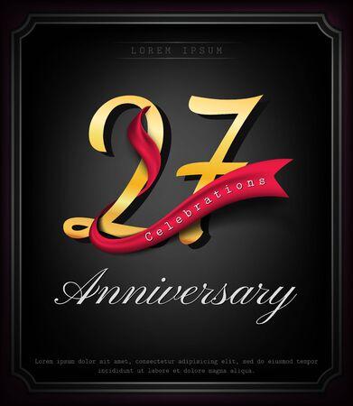 Anniversary emblems 27 anniversary template design
