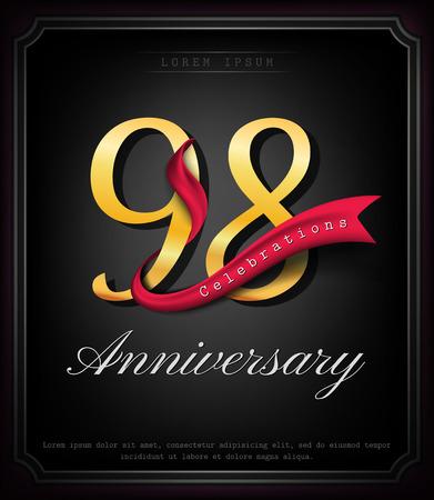 Anniversary emblems 98 anniversary template design