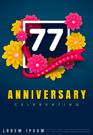 77 years anniversary invitation card - celebration template design , 77th anniversary with flowers and modern design elements, dark blue background - vector illustration