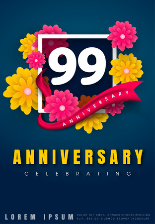99 years anniversary invitation card - celebration template design , 99th anniversary with flowers and modern design elements, dark blue background - vector illustration