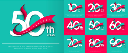 Ilustración de Set of Anniversary emblems , anniversary template design for web, game ,Creative poster, booklet, leaflet, flyer, magazine, invitation card - Imagen libre de derechos
