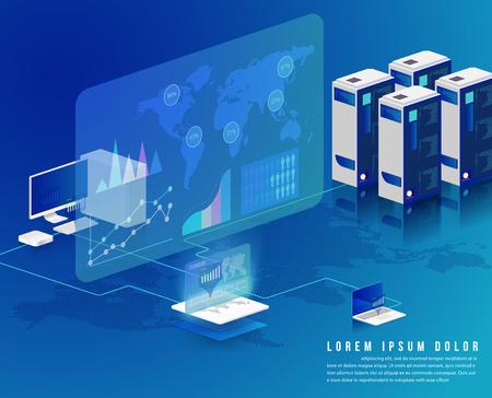 Ilustración de Concept of big data processing - Imagen libre de derechos