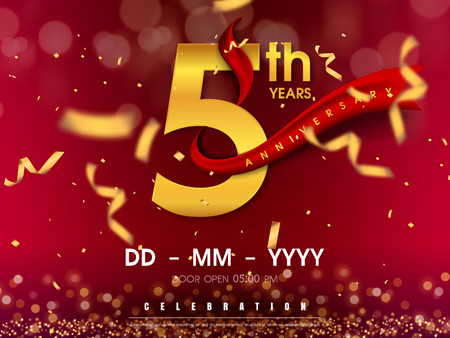 Photo pour 5 years anniversary logo template on gold background. 5th celebrating golden numbers with red ribbon vector and confetti isolated design elements - image libre de droit