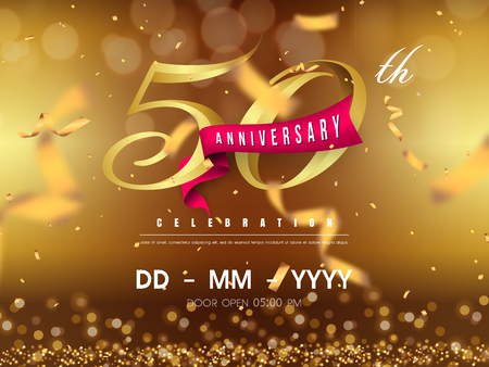 Ilustración de 50 years anniversary logo template on gold background. 50th celebrating golden numbers with red ribbon vector and confetti isolated design elements - Imagen libre de derechos