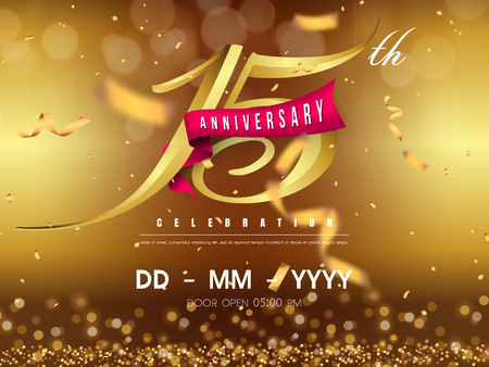 Illustration pour 15 years anniversary logo template on gold background. 15th celebrating golden numbers with red ribbon vector and confetti isolated design elements - image libre de droit