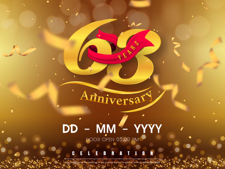 Illustration pour 63 years anniversary template on gold background. 63rd celebrating golden numbers with red ribbon vector and confetti isolated design elements - image libre de droit