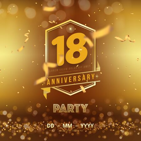 Illustration pour 18 years anniversary template on gold background. 18th celebrating golden numbers with red ribbon vector and confetti isolated design elements - image libre de droit