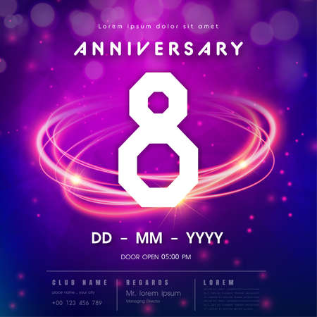 Ilustración de 8 years anniversary logo template on purple Abstract futuristic space background. 8th modern technology design celebrating numbers with Hi-tech network digital technology concept design elements. - Imagen libre de derechos