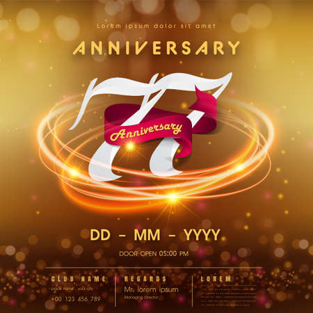 Illustration for 77 years anniversary logo template on golden Abstract futuristic space background. 77th modern technology design celebrating numbers with Hi-tech network digital technology concept design elements. - Royalty Free Image