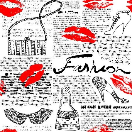 Foto per Seamless background pattern. Newspaper pattern Fashion with lips - Immagine Royalty Free
